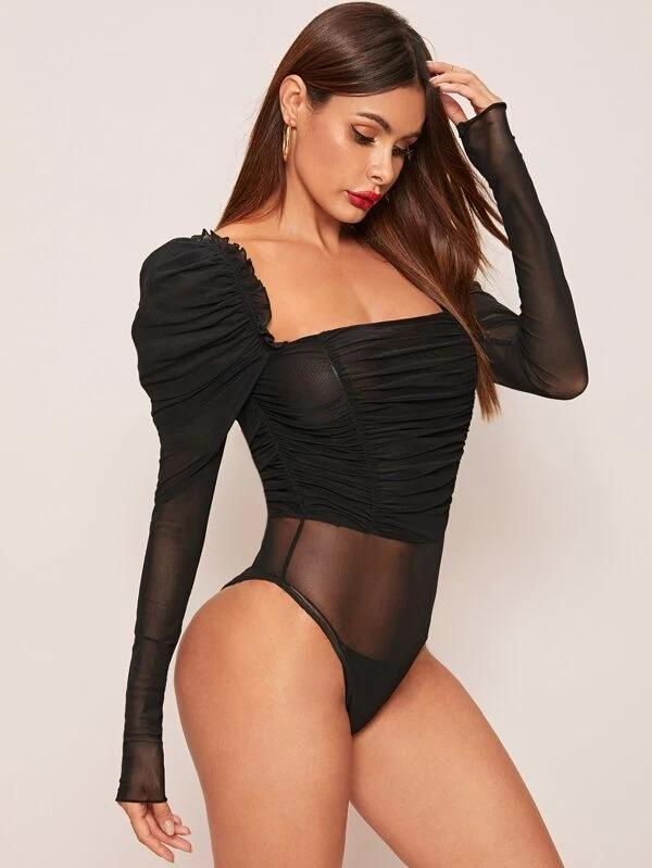 Women Puff Sleeve Ruched Mesh Fitted Bodysuit