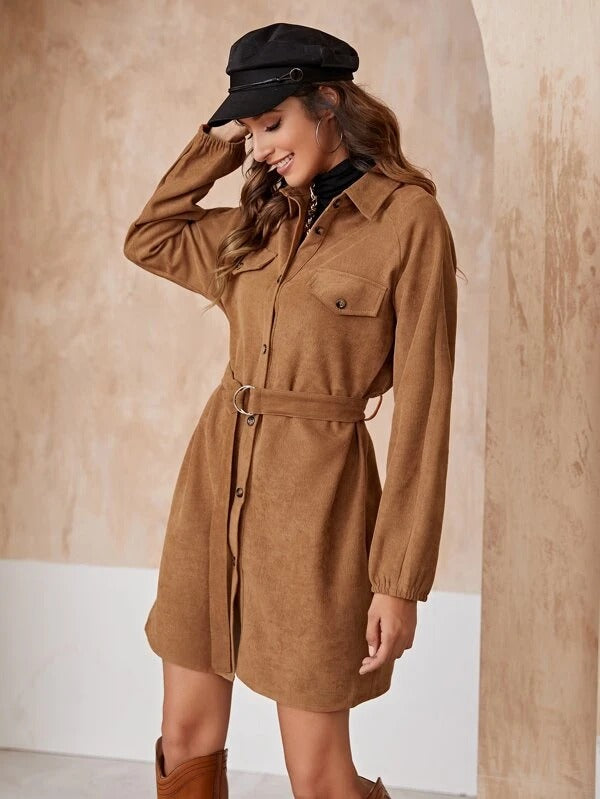 Women Raglan Sleeve Belted Cord Shirt Dress