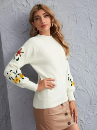 Women Raglan Sleeve Floral Pattern Sweater