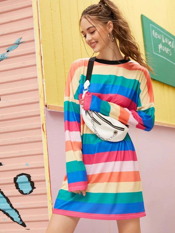 Women Rainbow Stripe Tee Dress Without Bag