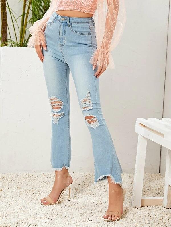 Women Raw Hem Ripped Flare Leg Jeans