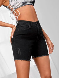 Women Raw Hem Solid Denim Shorts