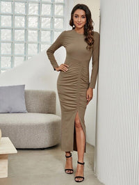 Women Rib-knit Ruched Split Thigh Bodycon Dress