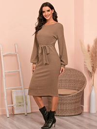 Women Rib-knit Split Side Belted Dress