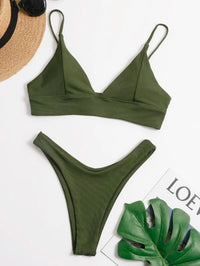Women Ribbed High Cut Bikini Swimsuit