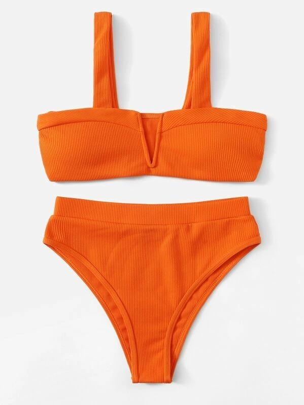 Women Ribbed V-Wired High Waist Bikini Set