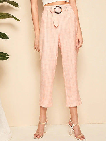 Women Ring Belted Plaid Cigarette Pants