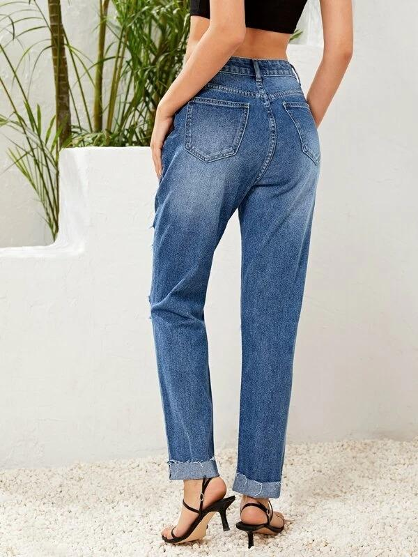 Women Ripped Detail Cuffed Jeans Without Belt