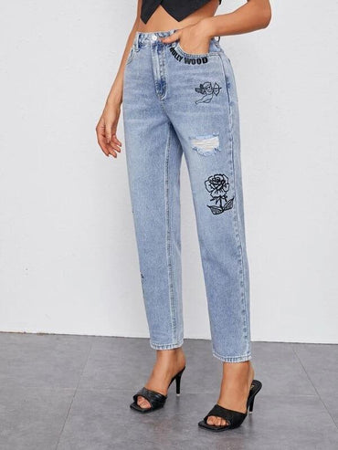 Women Ripped Detail Flower & Letter Graphic Jeans