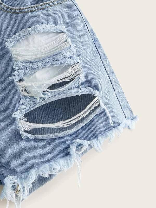 Women Ripped Raw Hem Denim Shorts