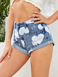 Women Ripped Roll Up Hem Heart Denim Shorts