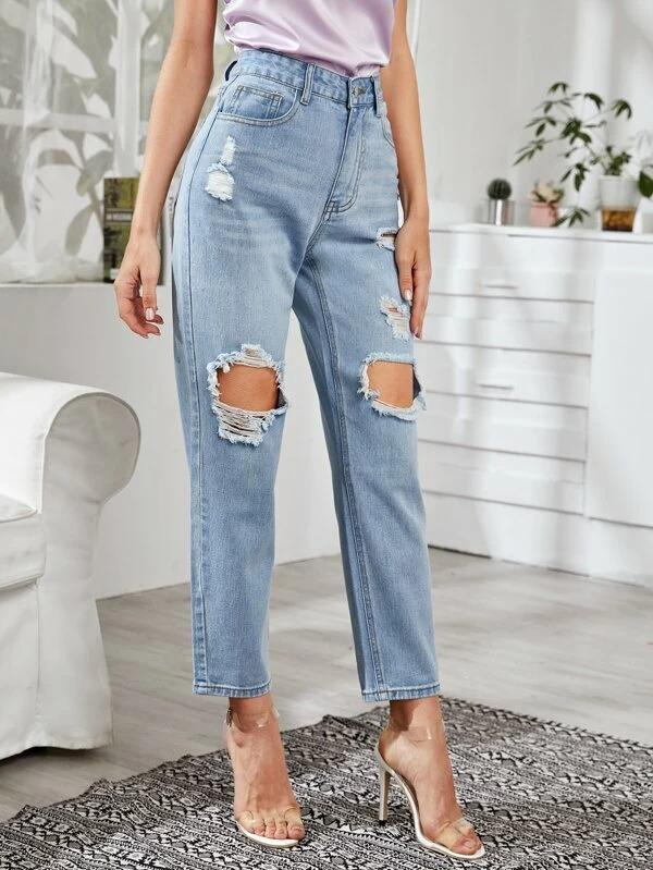 Women Ripped Solid Washed Jeans Without Belt