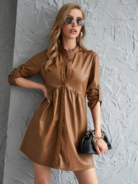 Women Roll Up Sleeve PU Leather Dress