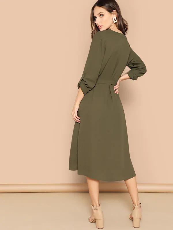 Women Roll Up Sleeve Pocket Belted Dress