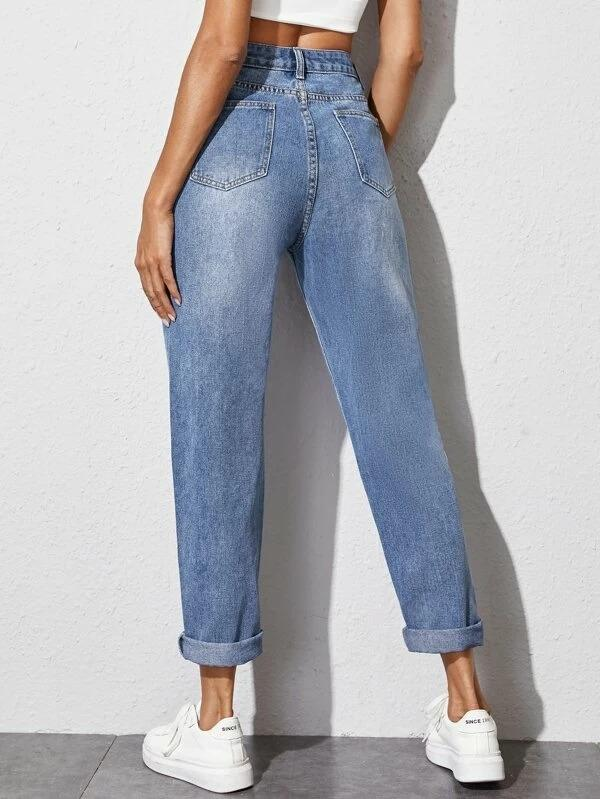 Women Rolled Hem Solid Carrot Jeans
