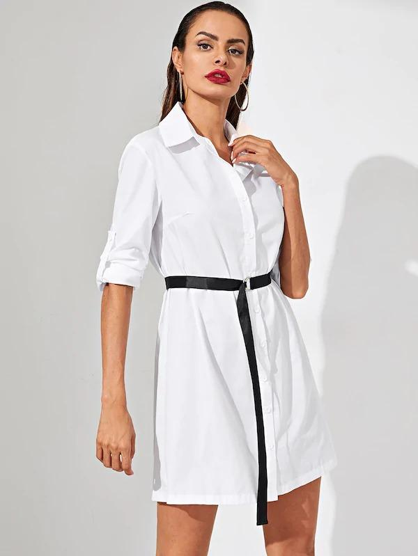 Women Rolled Tab Sleeve D-Ring Belt Shirt Dress