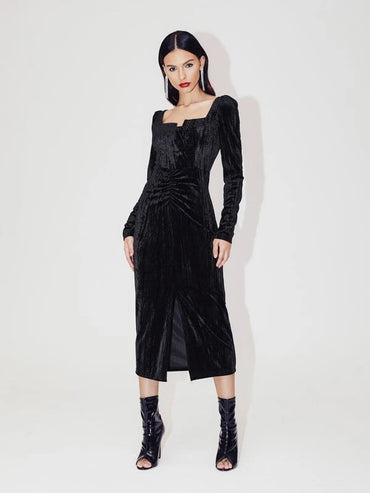 Women Ruched Detail Split Hem Velvet Dress