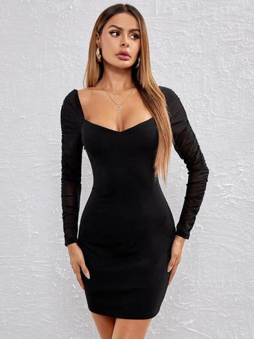 Women Ruched Mesh Sleeve Solid Bodycon Dress