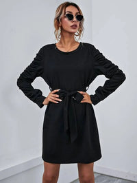 Women Ruched Sleeve Belted Tee Dress
