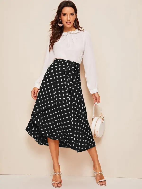 Women Ruffle Hem Self Belted Polka Dot Wrap Skirt