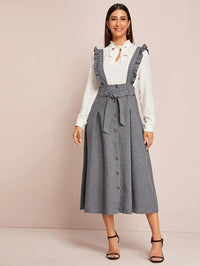Women Ruffle Straps Button Detail Belted Pinafore Dress