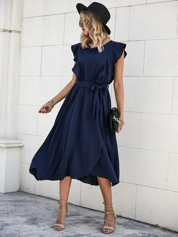 Women Ruffle Trim Self Tie Wrap Dress