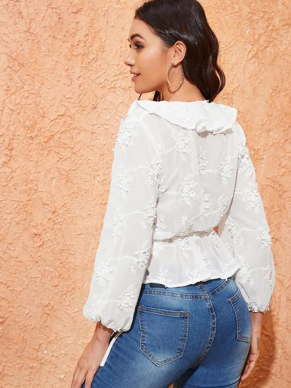 Women Ruffle Trim Appliques Wrap Peplum Top