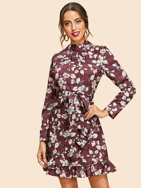 Women Ruffle Wrap Belted Floral & Plaid Dress