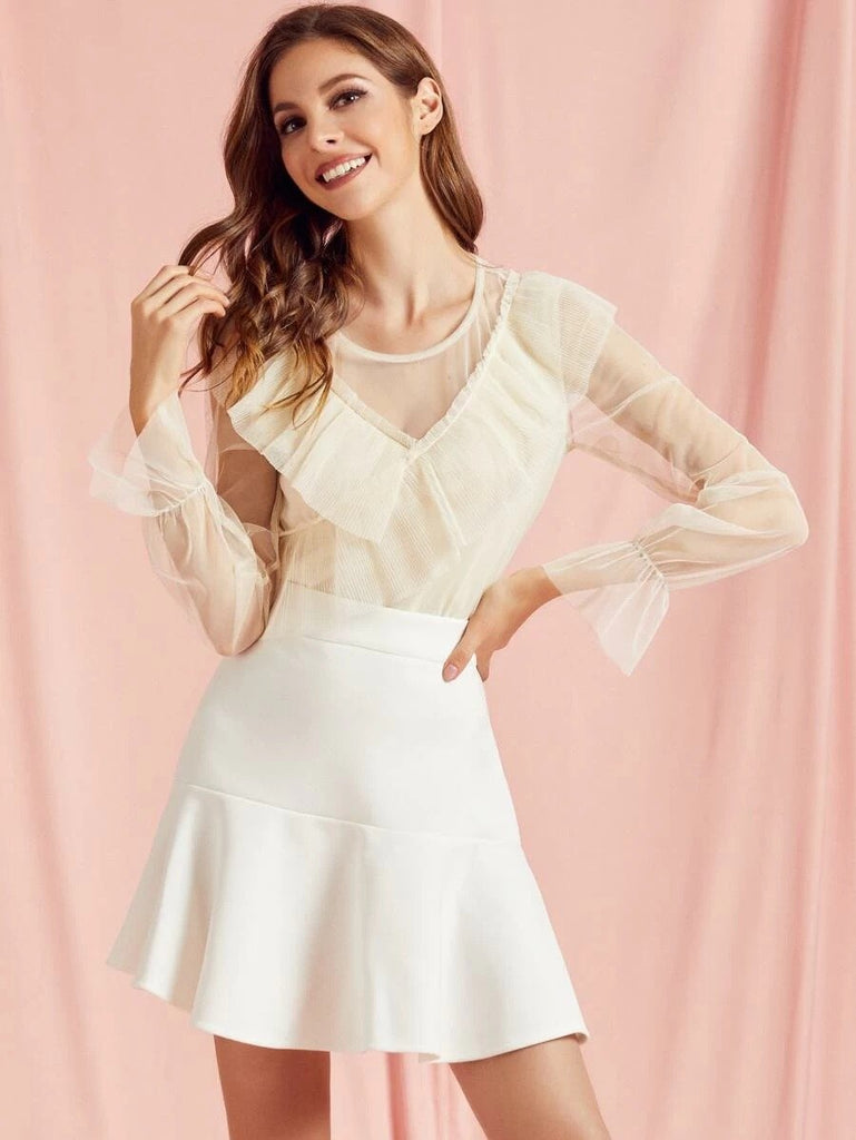Women SBetro Pleated Ruffle Trim Lining Front Mesh Top