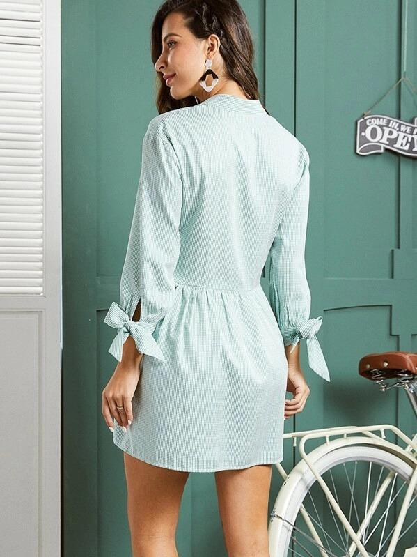 Women SBetro Knot Cuff Striped Shirt Smock Dress