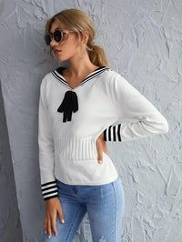 Women Sailor Collar Striped Knot Front Sweater