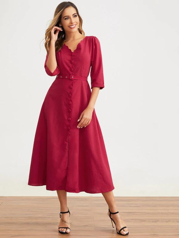 Women Scalloped Button Front Belted Dress