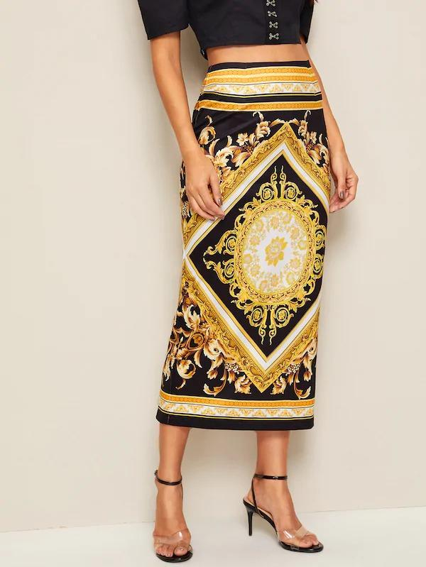 Women Scarf Print Split Back Skirt