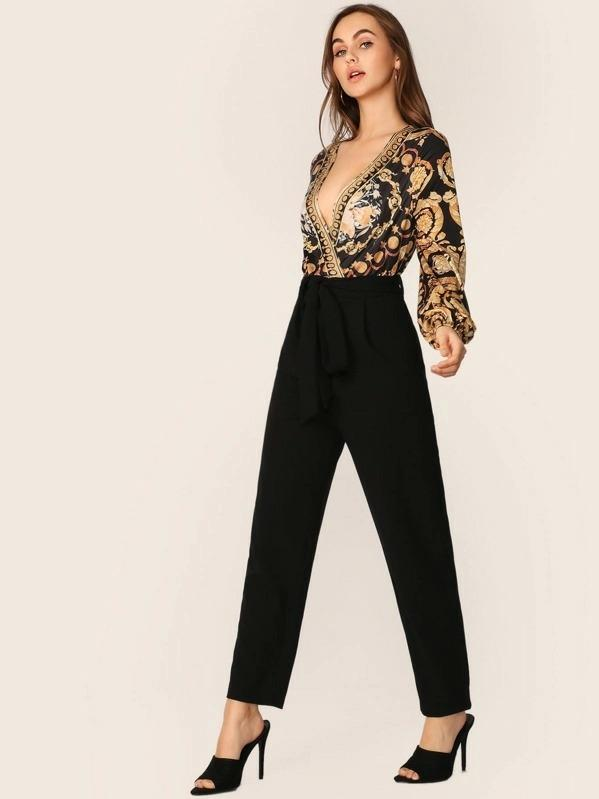 Women Scarf Print Belted Surplice Jumpsuit