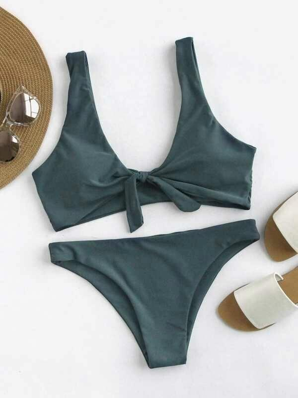 Women Scoop Back Bow Tie Top With High Leg Bikini Set