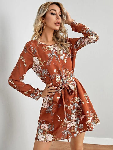 Women Self Belted Floral Dress