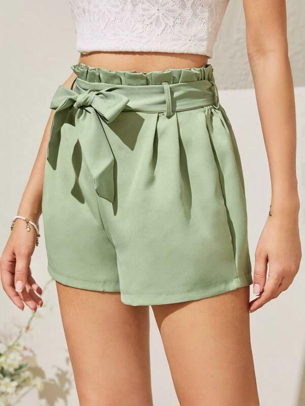Women Self Tie Paperbag Waist Shorts