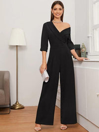 Women Shawl Collar Asymmetrical Neck Wide Leg Jumpsuit