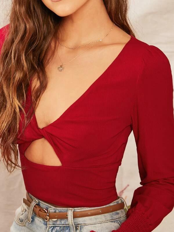 Women Shirred Cuff Twist Front Cutout Detail Top