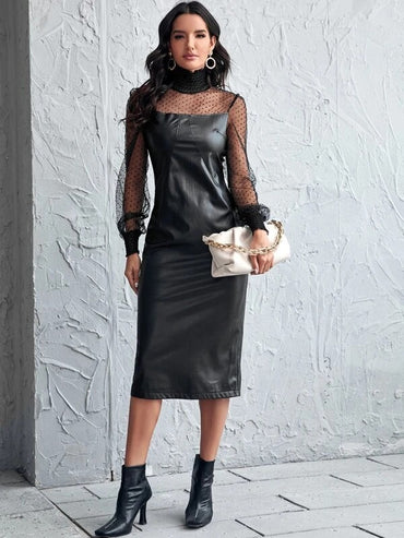 Women Shirred High Neck Dobby Mesh Yoke PU Leather Dress