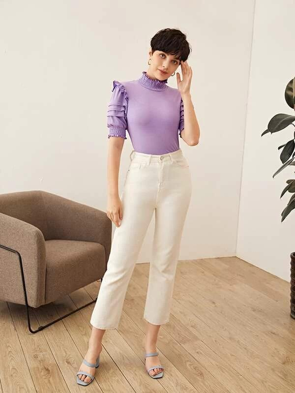 Women Shirred Neck and Cuff Ruffle Trim Fold Pleated Sleeve Top