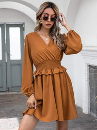 Women Shirred Waist Ruffle Surplice Front Dress