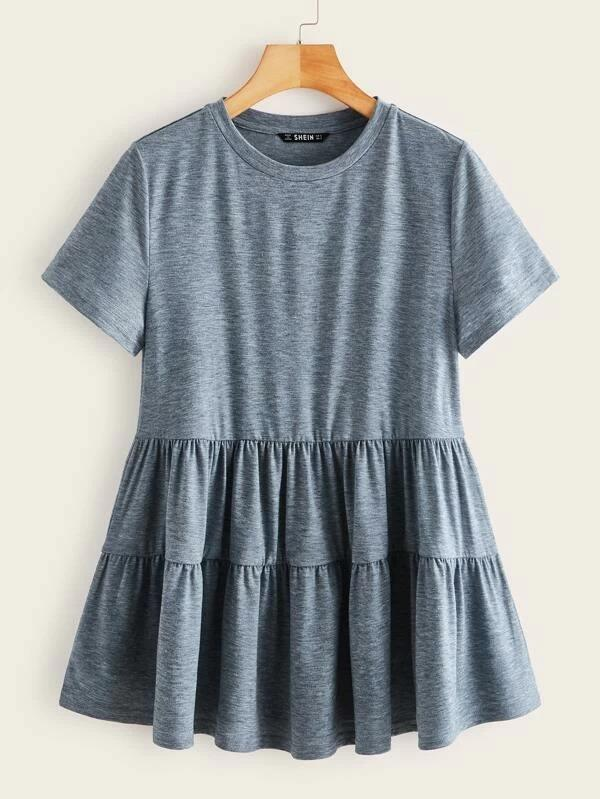 Women Short Sleeve Solid Smock Tee