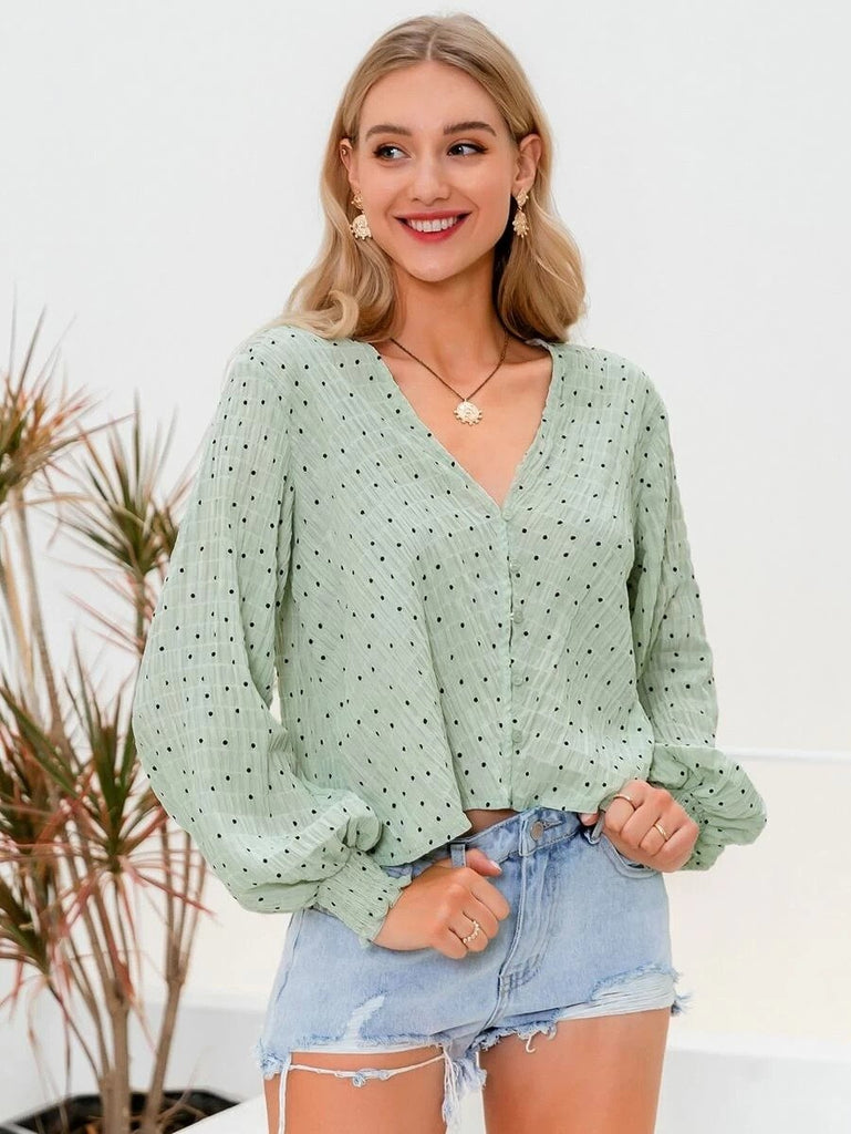 Women Simplee Lantern Sleeve Button Front Polka Dot Top