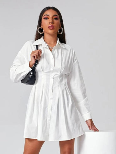 Women Single Breasted Fold Pleated Shirt Dress