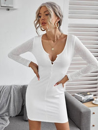 Women Single Breasted Rib-knit Bodycon Dress