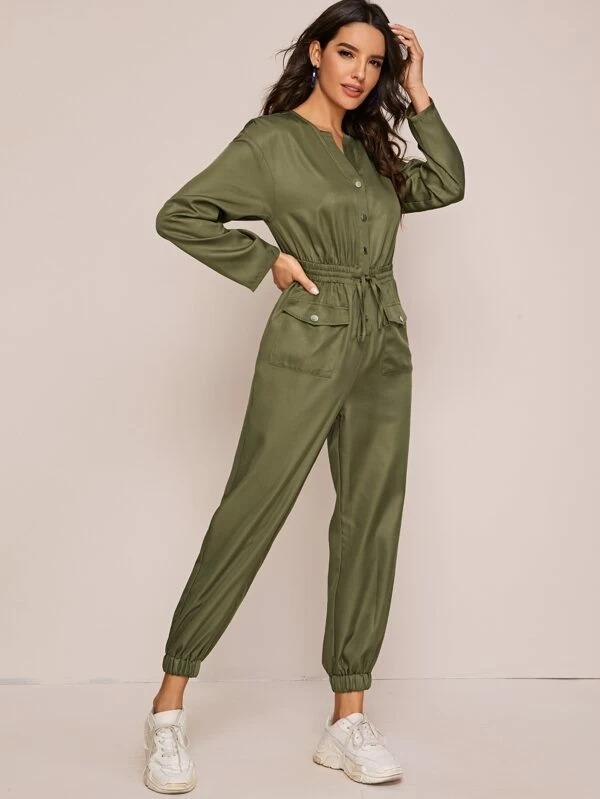 Women Single Breasted Flap Pocket Front Jumpsuit