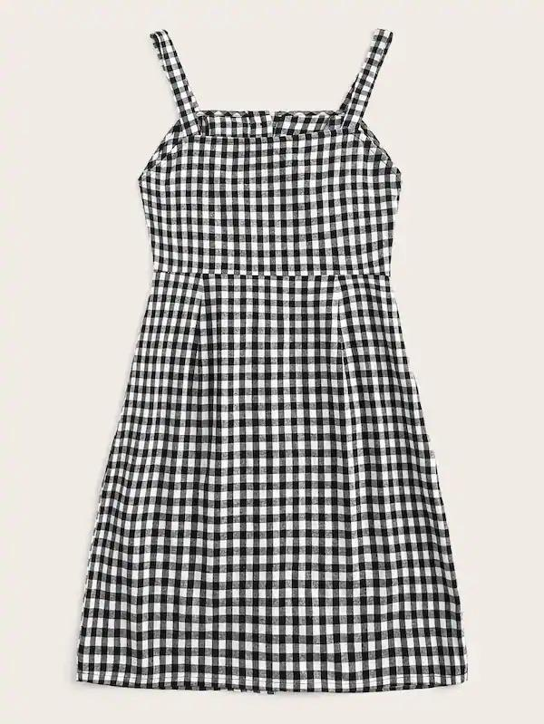 Women Single Breasted Gingham Cami Dress