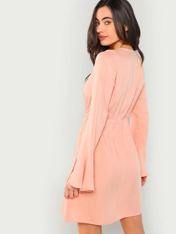 Women Slit Bell Sleeve Button Through Dress