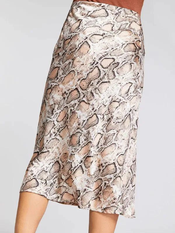Women Snakeskin Print Zip Side Skirt